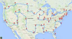 How to Really Drive Across the U.S. Hitting Major Landmarks! A data genius computes the ultimate American road trip. It makes at least one stop in all 48 states in the contiguous U.S. That means no state is left out! Each stop is at a National Natural Landmark, National Historic Site, National Park, or National Monument It's a true road trip, taken by car and not leave U.S. soil. - The Washington Post