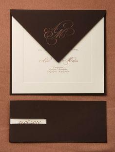 Πρόσκληση γάμου καφέ χρώμα