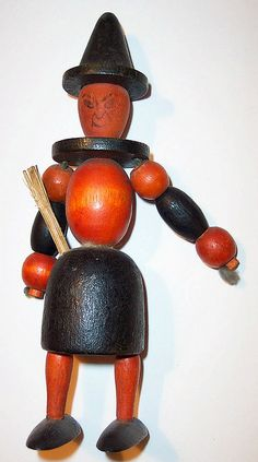 Vintage Halloween Toye ~ Wooden Witch Toy * Circa, 1930's or 40's
