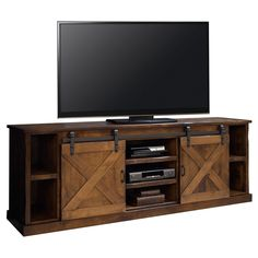 "Legends Furniture Farmhouse 85"" TV Stand Console Distressed Aged Whiskey FH1415 at Dynamic Home Decor"
