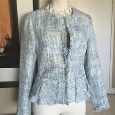CYNTHIA ROWLEY COUTURE Blues TWEED Blazer M 6 8 Label- Cynthia ROWLEY (Couture NOT JCP line) Style- Open Collarless Dress Suit Blazer Fitted shape with double peplum layers at waist, fringed neck, front sleeve, hem, pocket edges, one hook closure at waist Size-Medium, Will fit a 6 or 8 Measurements-B- 36, W- 32, Hip-38, Length from back neck to hem-21 inches Color-Pastel Blues, Moss Green and White Threads Fabric-Polyester Tweed Condition-Excellent, Lightly Worn, no issues Origin-China…