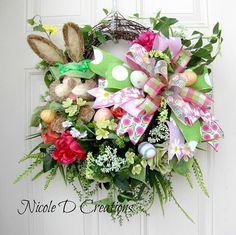 Easter Wreath Bunny Wreath Grapevine Wreath Front Door