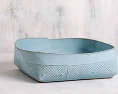 Mint green Ceramic bowl Ceramic salad bowl polka by FreeFolding