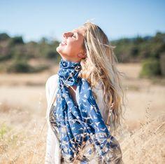Bird Print Scarf Blue and Tan Fly away scarf Extra by ElizabethKoh