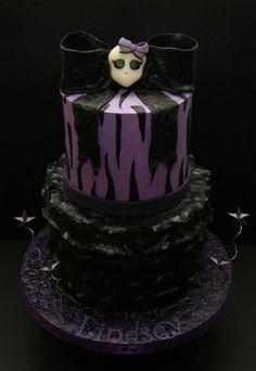 Madhouse Bakes - purple skull ribbon cake