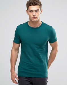 Image 1 of ASOS Muscle T-Shirt With Crew Neck In Green