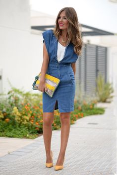 spring / summer - street style - street chic style - summer outfits - party outfits - white tank top + deep v-neck denim pencil dress + yellow suede stilettos + yellow clutch