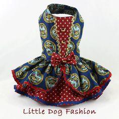 Dog dress Harness dog dress Patriotic United by LittleDogFashion