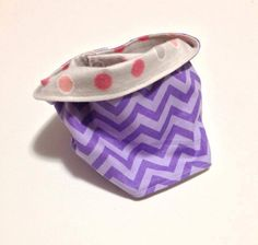 "Baby ""Infinity Scarf"" Drool Bibs. In Purple Chevron, and soft grey dots lining. By Mommy Can Sew, on Etsy"