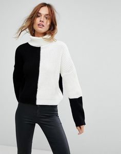 Missguided Color Block High Neck Sweater - Multi