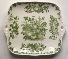 Green English Transferware  Tab Handled Tray / PlatterMasons with Harvest Fruits in a Basket Autumn Colors