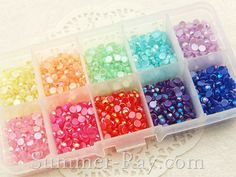 Rhinestones 4mm Glossy Pearl Mixed Color in Storage Box - 2000 pieces