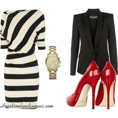 A fashion look from October 2011 featuring Vivienne Westwood Anglomania dresses, Balmain blazers and Jimmy Choo pumps. Browse and shop related looks. Mode Outfits, Fashion Outfits, Womens Fashion, Fashion Trends, Professional Attire, Look Chic, Work Attire, Classy Outfits, Work Fashion