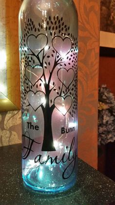Family Tree - for 6 names - Wine Bottle, light block decal. Easy Weed by Tina Fallon Easy to weed - manual weeding lines have been added… Wine Bottle Vases, Painted Wine Bottles, Lighted Wine Bottles, Bottle Lights, Wine Bottle Crafts, Bottle Art, Bridal Crown, Cutting Files, Glass Vase