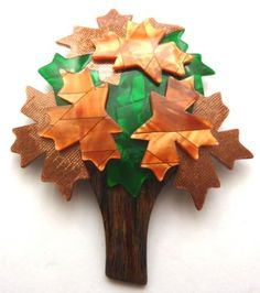 LEA STEIN BROOCH - THE TREE - BROWNS AND GREEN