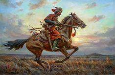 Horseman on the Steppe by Tadeusz Ajdukiewicz Ukrainian Art, Large Painting, Military Art, Medium Art, Figurative Art, Animation, Traditional Art, Historical Pictures, Illustrators