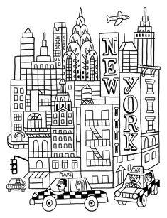 coloriage taxi new york | Projets à essayer | Coloriage ...