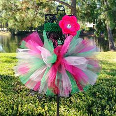 Baby Tutu Christmas Green Pink Red with Flower by TutuCaChu, $39.99