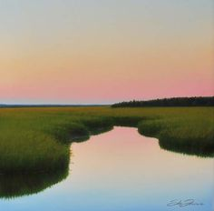 Cape cod evening marsh painting