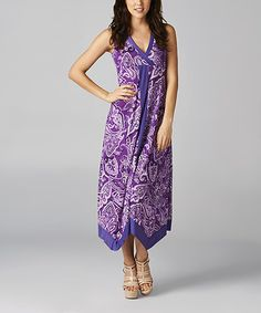 Another great find on #zulily! California Women Purple & White Paisley Maxi Dress by California Women #zulilyfinds