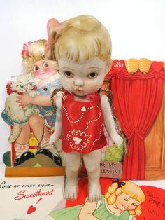 Vintage Bisque Valentine Girl Doll, Red Heart Dress, Blonde Kewpie, Frozen Charlotte by UrbanRenewalDesigns on Etsy