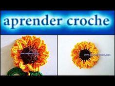 FLORES EM CROCHE FLOR GIRASSOL PRINCE - 086 - YouTube
