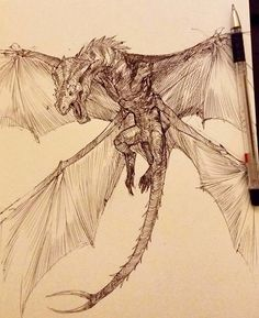 Inktober sketches 1 by Hazem Ameen on ArtStation. Mythical Creatures Art, Fantasy Creatures, Dragon Tattoo Drawing, Dragon Drawings, Dragon Anatomy, Dragon Sketch, Dragon Artwork, Creature Drawings, Dragon Pictures