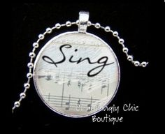 Beautiful Sing Sheet Music Silver Round Pendant by charminglychic, $15.00
