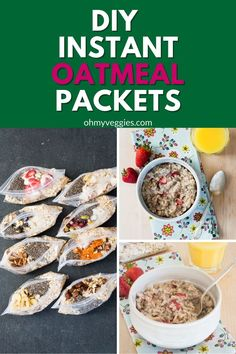 Making DIY instant oatmeal packets is so much fun — and it's nice to have everything contained so all I have to do is add water and pop it into the microwave for a few minutes. Oatmeal Packets, Vegetarian Cooking, Make It Simple, Microwave, Vegan Recipes, Veggies, Favorite Recipes, Homemade, Meals