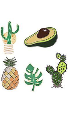 MJARTORIA Cream Cactus Pineapple Novelty Cartoon Enamel Brooch Pin Set