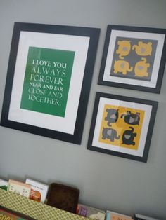 make wall art: simple repeating pattern in color theme; favorite quote. gray + yellow.