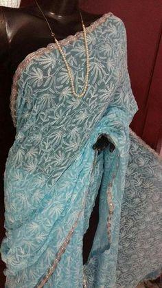 Blue Chikankari Tepchi Saree with designer border