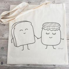 "Image of Bolsa de tela ""tostada y mermelada"" www.mrwonderfulshop.es"