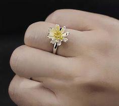 Flyleaf Elegant Lotus Flower  925 Sterling Silver Opening Rings For Women Fashion Wedding Sterling Silver Jewelry Bague Femme