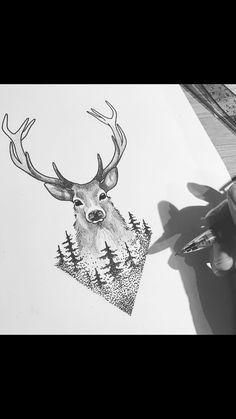 17 Ideas tattoo geometric animal deer antlers for 2019 Cool Art Drawings, Animal Drawings, Tattoo Drawings, Body Art Tattoos, Small Tattoos, Sleeve Tattoos, Tattoo Neck, Stag Tattoo Design, Deer Tattoo