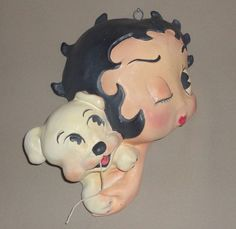 "Vintage Betty Boop w/Her Dog ""Pudgy"" String Holder"