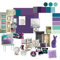 ls peace themed bedroom tween bedroom mood board purple aqua gray peace exactement les couleurs pour - Bedroom Colors For Girls