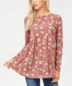 74d6f1f7d8 Look what I found on  zulily! Denim   Lilac Floral Ruffle-Sleeve ...