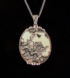 Broken china jewelry oval pendant teal English transferware