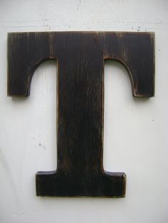 """black rustic wall hanging initals Letter T, Hanging Wood Letters,Nursery Letters,12"""" tall wooden letter,painted Black. $28.00, via Etsy."""