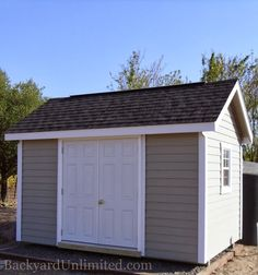 Garden Shed With Lap Siding, Ridge Vent, And Fiberglass Prehung Double Door