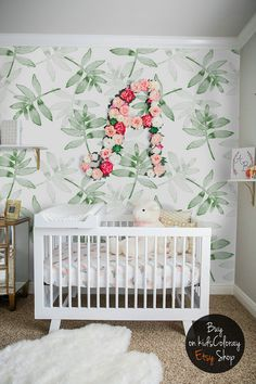 Green, Leaves Wallpaper, Tropical, Plants Wall Mural, Kids, Nursery  Wallpaper, Baby Room Decor, Reusable, Repositionable Wallpaper #23