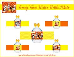 LOONEY TUNES Looney Tunes Water Labels Looney Tunes by DMYPARTY