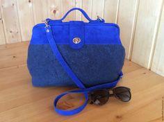 Купить Саквояж Azzurro - тёмно-синий, васильковый цвет, ярко-синий, индиго, azzurro
