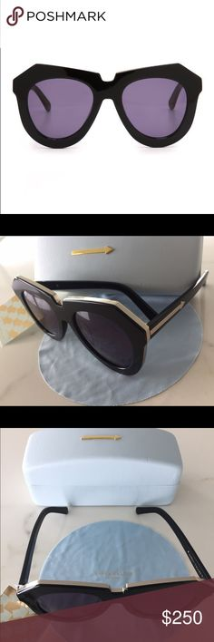 Karen Walker: One Meadow Black/Gold New w/ Tags. Polished trim and arrow details on the arms highlight these edgy Karen Walker sunglasses. Grey lenses. Hard case and cleaning cloth included. Width: 5.75in / 14.5cm Height: 2.5in / 6.5cm Lens Width: 50mm Karen Walker Accessories Sunglasses
