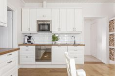 Wood and white meet kitchen
