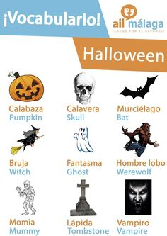#Halloween is an amazing event to #celebrate! If you're in Spain by the end of October then this themed #vocabulary might help you to survive :D #LearnSpanish #SpanishSchool #SpanishVocab