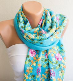SALE Blue Embroidered Scarf Authentic Scarf by ModernScarfPoint