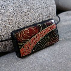 SALE Black Sea  A Bamboo Tile Necklace on a leather by 215Design, $9.95 get bamboo tiles at http://www.ecrafty.com/c-422-bamboo-domino-tiles.aspx