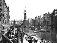 A canal of Hamburg, Germany, in 1863